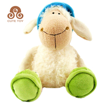 plush blue hat sheep shaped stuffed animal plush toy