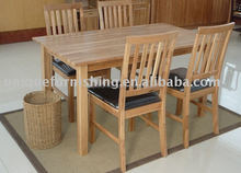 Modern Rectangle Oak Wood Dining Table Set