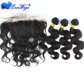 High quality virgin human hair 13x4 Lace Frontal Closure with 3 Bundles hair weft