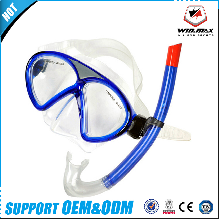 Hot sell 2017 professional child PVC barrel & mouth piece diving mask/snorkel diving set with mesh bag