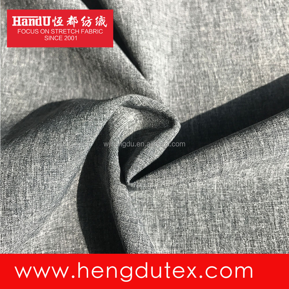 100D Polyester Spandex 4 Way Stretch Cation Grey Melange Color Fabric for Suit Trousers Garment