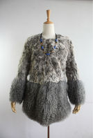 Lady's Fashion Lamb Fur Coat With Mongolian Fur Skirt/2014 Autumn New Style/Gray Color