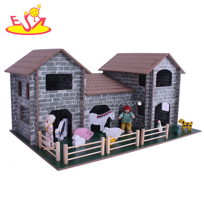 wholesale new fashion children wooden play house hot sale wooden play house W06A124