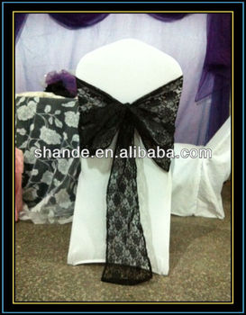 Fashional and luxury black lace chair cover sash
