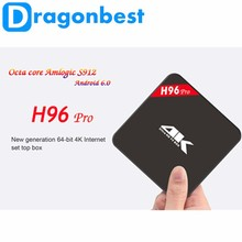 Pre-Installed Real 4K 64Bits Octa Core H96 pro Android 6.0 Tv Box Amlogic S912 dual WiFi H96 pro Google TV BOX