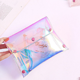 large capacity laser pvc clear cosmetic bag Korean cute holographic makeup pouch bag