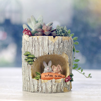 New hot tree hole rabbit picnic flower pot resin indoor garden planter home deco garden pot