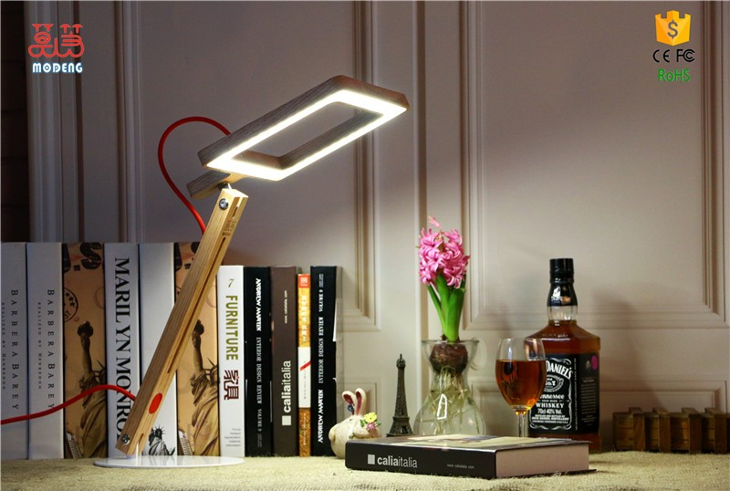 10w led wooden desk lamp stepless dimmer control folding table lamp