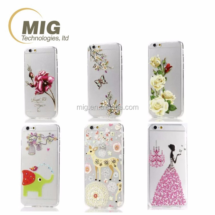 tpu phone case For samsung note 5 Transparent relief pattern diamonds case For iphone For htc for lg