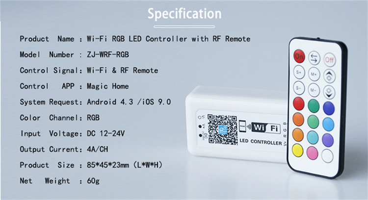 Free APP!2018 hot selling products WiFi 2.4g wifi controller wireless dimmer for flexible led lights