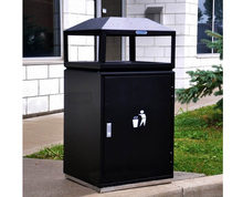 Single big Public Metal trash bin waste bin with ashtray for sale