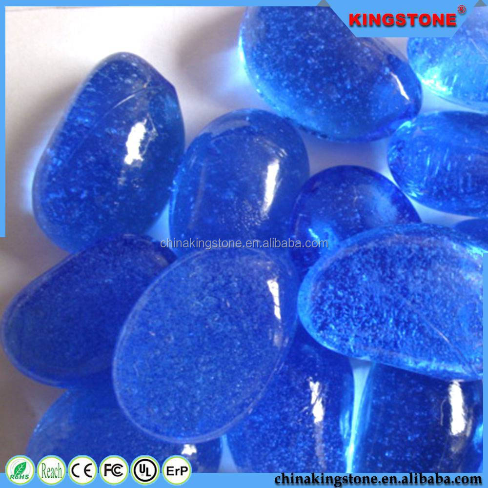 Factory supply wall coating use aqua blue glass pebble,glow pebble with natural color,polished yellow river pebble