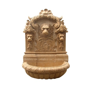 Garden Decor Marble Lion Head Statue Wall Water Fountain