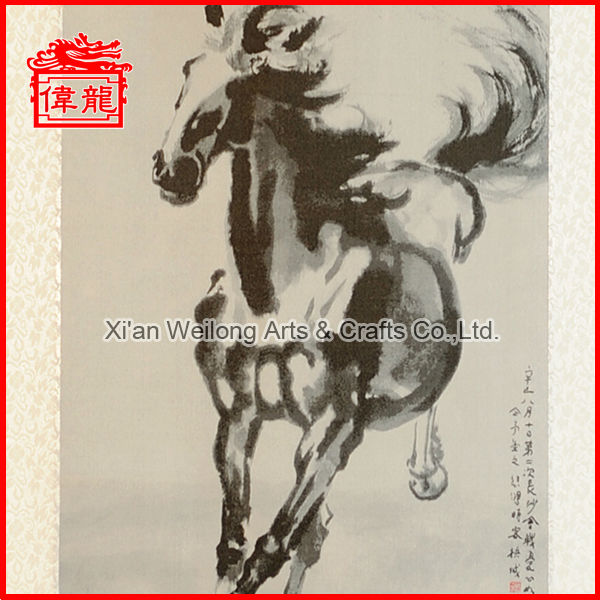 Silk craft wall hanging decor Silk Brocade horse painting