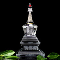 Factory sale Buddhist temple supplies Fengshui glass crystal stupa tower crystal religious product