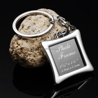 high quality silver metal photo frame keychains, mode: KC220