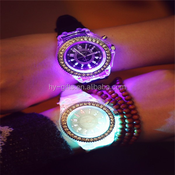 crystal led silicone geneva watch fashion rhinestone led watch