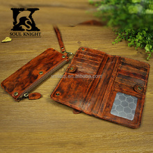 SK-X8053 Men's Vintage Genuine Leather Money Clip Anti-finished Wallet genuine leather