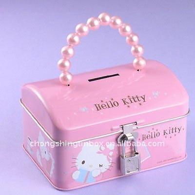 Dome shape money tin box with beads handle