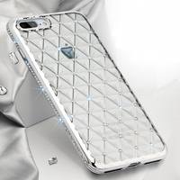New Popular Girl Style Bling Diamond Rhinestone TPU Clear Back Mobile Phone Case For iPhone 6s Plus