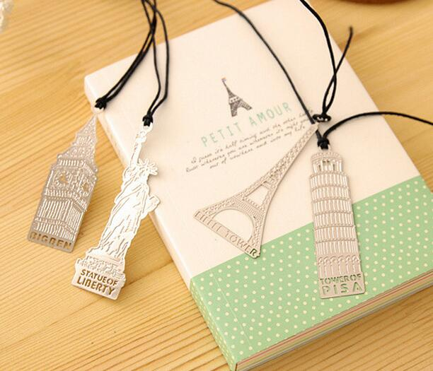 promotion gift custom Eiffel Tower/the Leaning Tower of Pisa/Statue of Liberty shape bookmark silvery color plate metal bookmark
