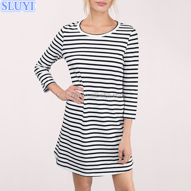 apparel online shopping plus size cotton dress wholesale custom 3/4 sleeve print black and white striped casual dressses