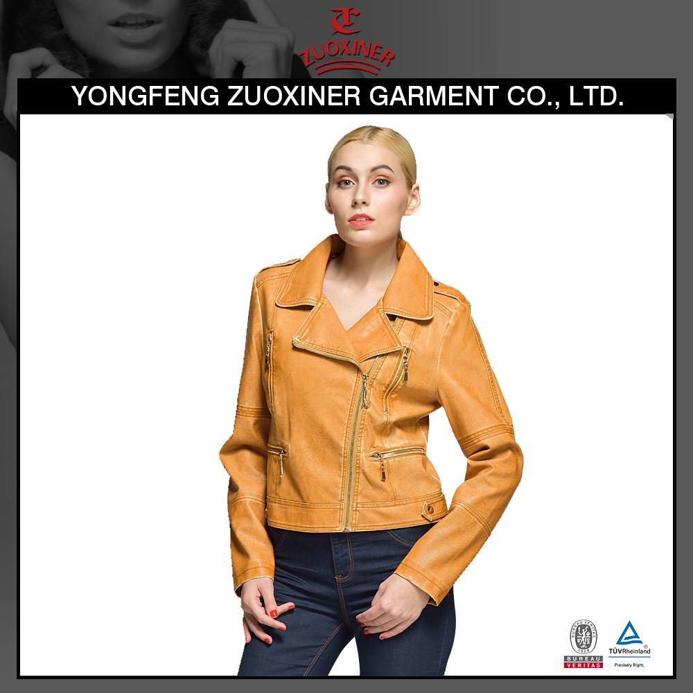 washed pu leather jacket blazer fluting jacket
