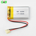 3.7v Rechargeable lithium polymer li-ion battery 602540 600mah lipo polymer battery for smart portable devices