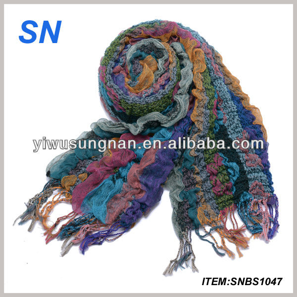 hot sell fashion polyester cotton cable scarf