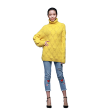 Nice yellow color turtleneck chunky knit alpaca warm sweater for women