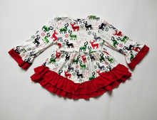 New reindeer design high quality kids clothes wholesale icing ruffle design boutique baby girl's fall winter dress