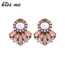Statement Earrings New Fashion Simulated Pearl Crystal Geometric Stud Earrings