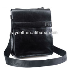 Italian genuine leather office classic black men shoulder bags with strap for men