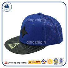 PU leather flat bill cotton men baseball cap OEM processing cap