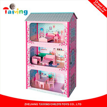 Popular design children Pretend Wooden minature Doll House Toy With Furnitures