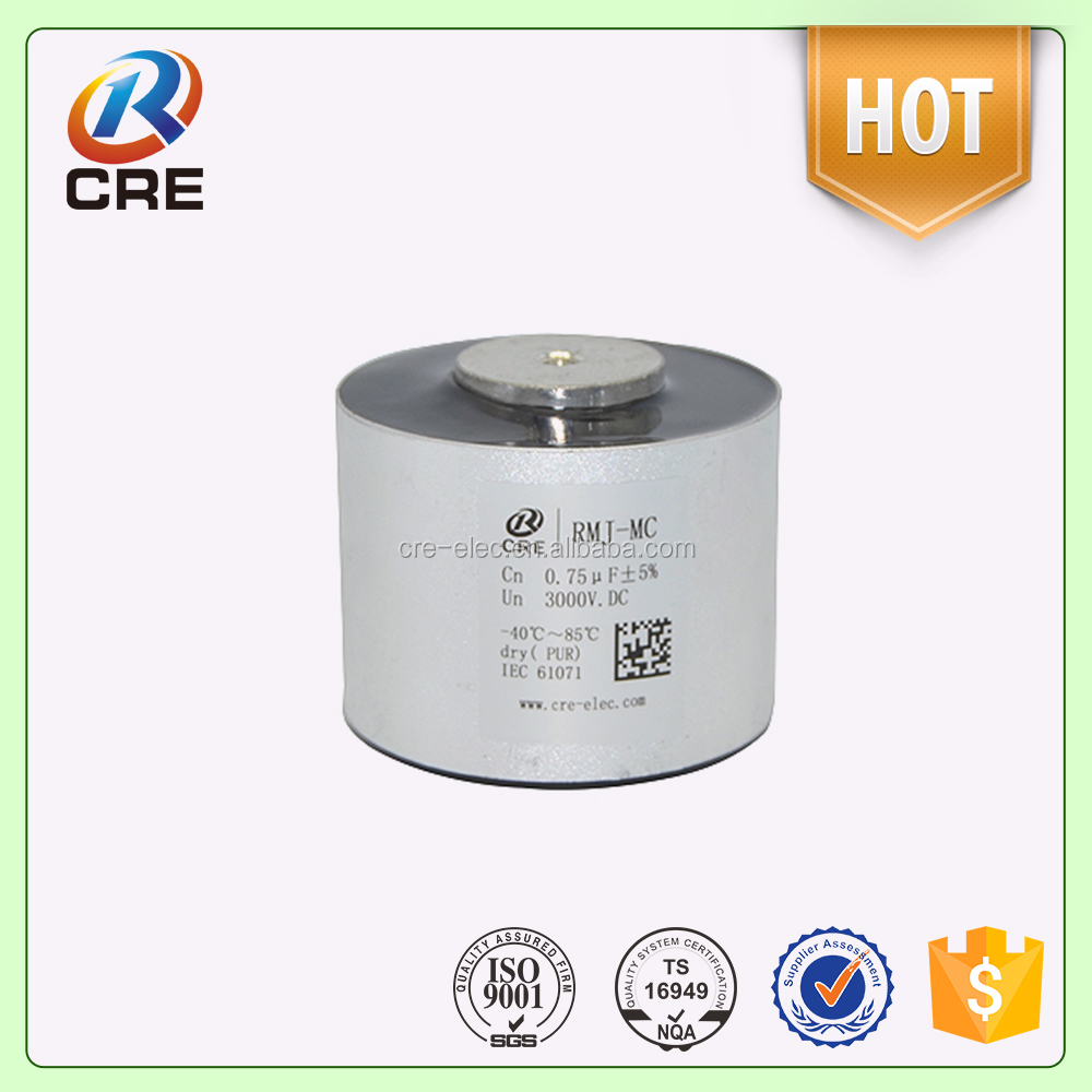 electrical capacitor, 0.75uf 3000v metalized film resonance capacitor
