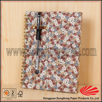 Loose-leaf yo wire fabric covered notebook with pen