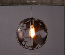 Eueopean Industrial wind hall creative globe iron restoring ancient droplight