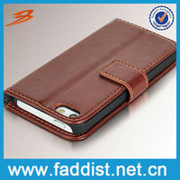 Leather cheap mobile phone case for iphone 5s flip case for iphone 5