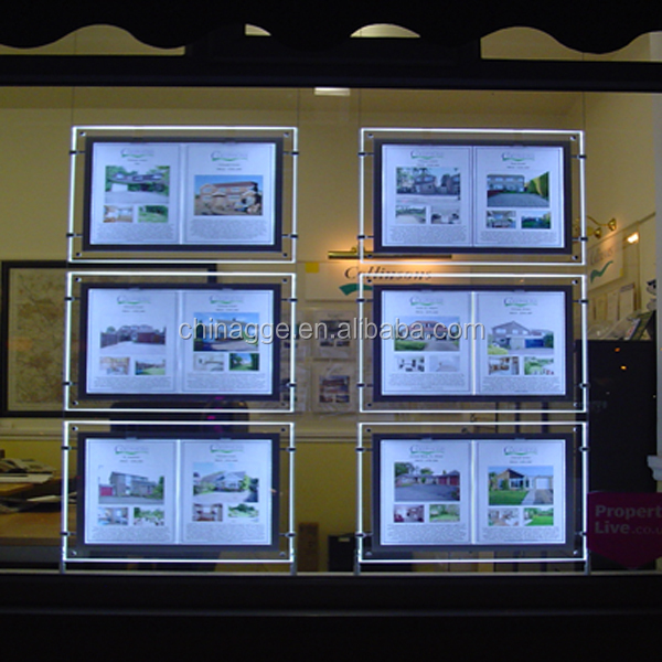Custom Poster Backlit LED Crystal Slim Acrylic Light Box Frame for <strong>Advertising</strong> Real Estate Window Sign