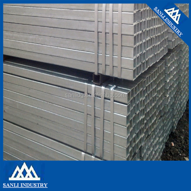 ERW low carbon steel MS hollow section galvanized square steel pipe size for glass wall