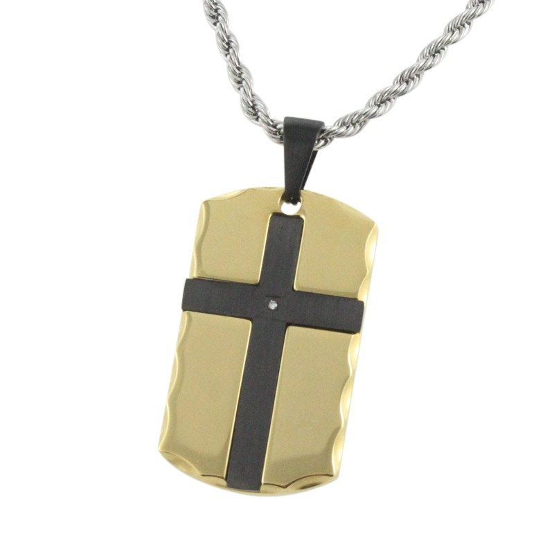 new design stainless steel pendant Electroplating blue color with a gold cross CNC black stone
