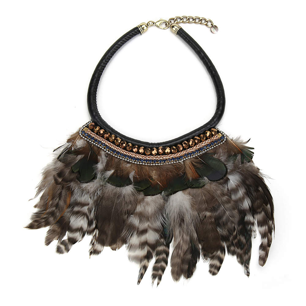 Fashion Women Accessories 2016 Indian Style Feather Statement Choker Necklace