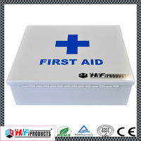 Square shaped empty metal first aid