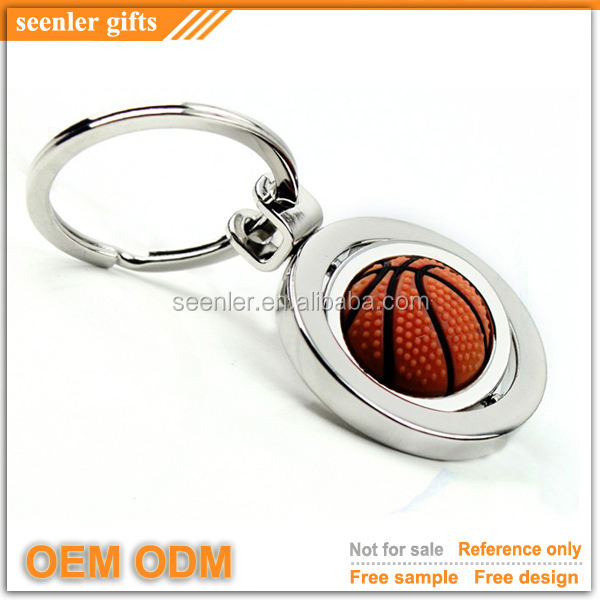 top sell unique basketball personalized spinning keychain for promotion gift