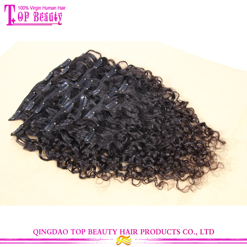 Qingdao top quality loose curly virgin malaysian clip in human hair extensions