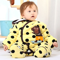 Black Dot Beige Monkey Hoodie Thick Winter Quilted Cotton Press Button Jumpsuit baby clothing romper