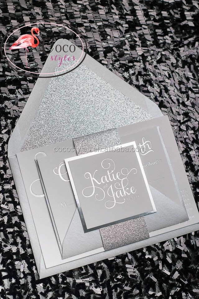 fashion silver glitter invitations card