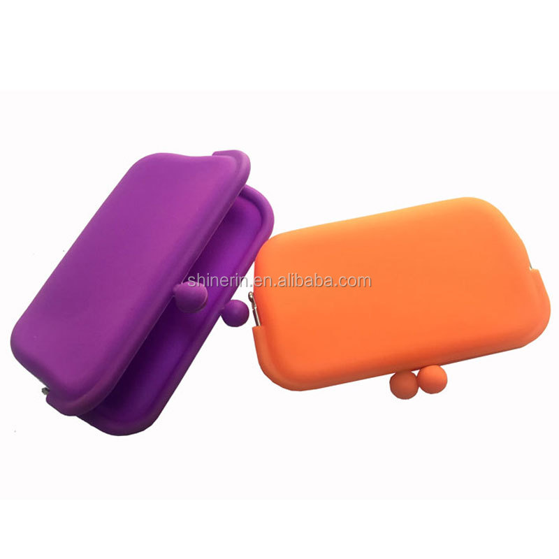 Shinerin Mens Clutch Coin Purse oem meatal clip silicone cosmetic pouch