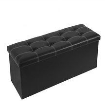Collapsible Storage Chest Ottoman Long Leather Ottoman Black Storage Bench